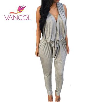 Vancol 2016 Summer c V-Neck Sleeveless Harem Pants Black Grey Casual Plus Size Playsuits and Jumpsuits