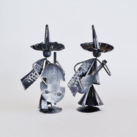 Metal Mariachi Musicians Figurines Set of 2
