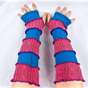 Armwarmers, Upcycled Clothing, Katwise Style, Boho Chic, Patchwork Fingerless Gloves, Women's Hippie Accesories, Recycled Sweaters, Fleece