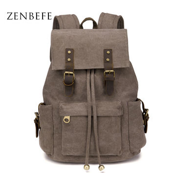 ZENBEFE Large Capacity Travel Backpack Vintage Women'S Backpack Durable Student School Bags Good Quality Backpacks For Laptop