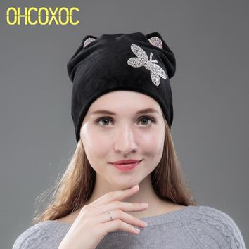 OHCOXOC New Design Women Beanies Skullies Princess Girl Cute Autumn Winter Hat Cap With Cat Ear Shiny White Butterfly Rhinestone