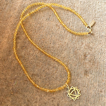 Fine faceted Citrine and Sterling silver 'Solar Plexus Chakra' pendant necklace