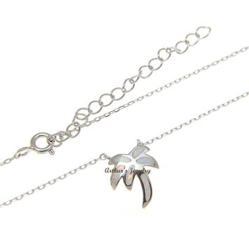 """925 Sterling Silver Hawaiian Palm Tree White Opal Necklace Chain Included 18""""+2"""""""