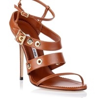 Zilax tan leather sandal Manolo Blahnik - Designer Shoes at ShopSavannahs.com