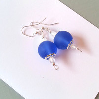 Cobalt blue sea glass earrings, beach jewelry