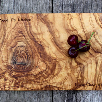 Personalised Olive Wood Chopping, Serving Board/Plank - 35cm x 20cm x 2cm