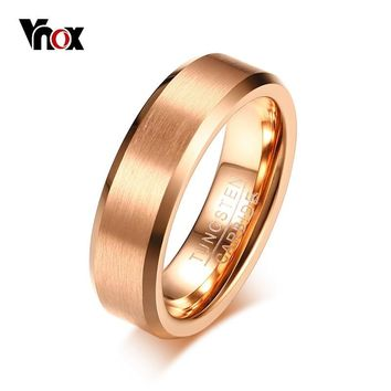 Vnox Simple Men's Ring Tungsten Wedding Band Rose Gold Color Matt Surface Classic Casual Male Jewelry US Size 8 9 10 11 12