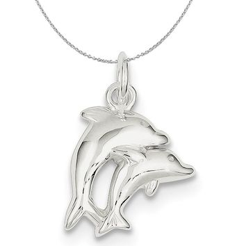 Sterling Silver Polished Twin Dolphin Charm or Necklace