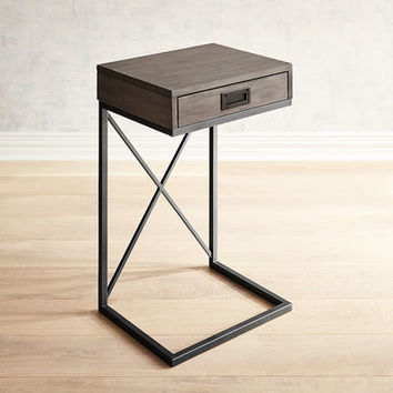 Mazza Gray C-Table with Storage Drawer