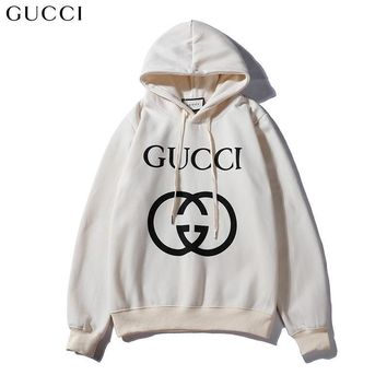 GUCCI autumn and winter classic double G printing logo hooded long-sleeved sweater White