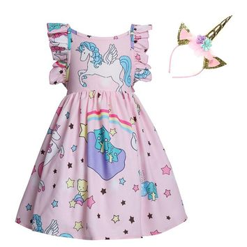 My little baby lovely Unicorne clothes moana vaiana flamingo girls party princess dress unicorn vestido with headband dresses