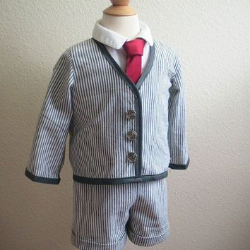 Boys Ring Bearer Gray Searsucker Stripped Suit by beaneandco