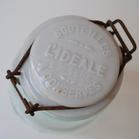 Vintage French Conserve Glass Jar with Porcelain Lid by LaManche