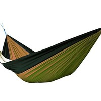 Portable Single-person Nylon Camping Hammock Nest for Travel, Hiking, Backpacking, Beach, Kayaking and Bedroom (Dark Green / Brown)