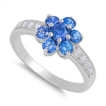 Sterling Silver Blue Saphire Plumeria Flower CZ Ring