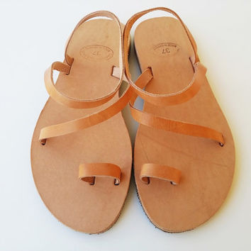 Leather Toe Sandals Natural Light Brown Color Handmade Genuine Leather with Rubber Sole