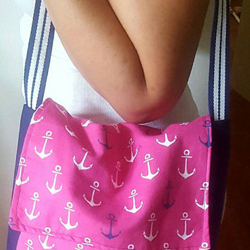Messenger / style / tote bag- purse with multi color anchors