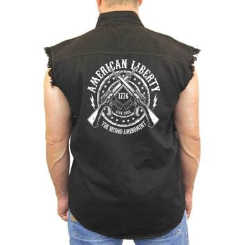 Men's Sleeveless Denim Shirt American Liberty 2nd Amendment