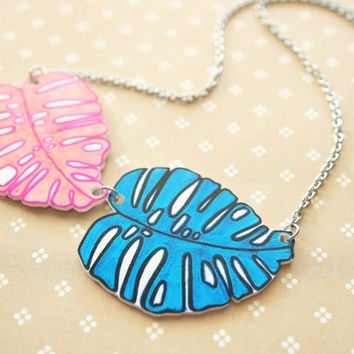Blue Pink Monstera Leaves Shrink Plastic Necklace with Stainless Steel Hypoallergenic Chain
