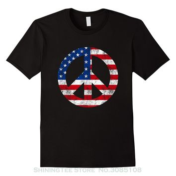 Peace Sign Symbol American Flag Patriotic 4th Of July T-shirt