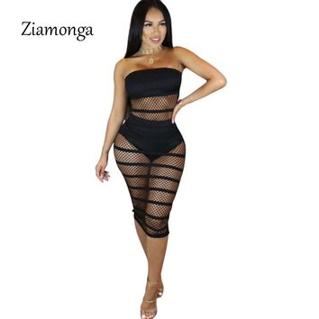 Ziamonga Sexy See Through Dress Women Summer Strapless Sheer Mesh Bodycon Midi Party Dress Night Club Wear Outfits Female Dress