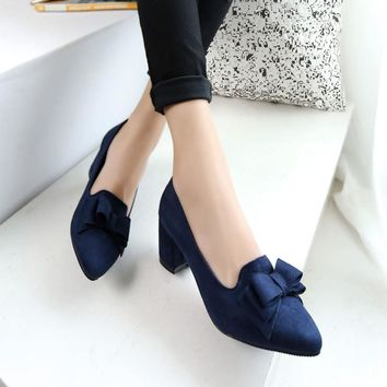2018 Candy Color Women Pumps Shallow Color Women's Bowknot Suede Block Thick High Heels Shoes Bowtie Working Shoes