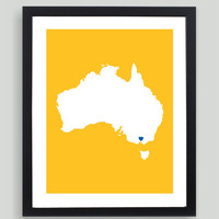 My Heart Resides In Australia Art Print - Any City, Town, Country or State Map Customized Silhouette Gift