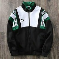 PUMA Popular Women Men White/Black/Green Color Matching Loose Long Sleeve Zipper Cardigan Sweatshirt Jacket Coat I-WMGCD