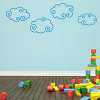 rvz1739 Wall Vinyl Sticker Bedroom Decal Set of 4 Clouds