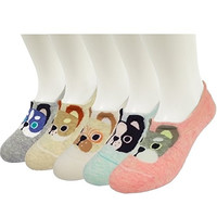 HWELL Cute Dog Low Cut Socks, No Show Socks Women, 5 Packs Cotton Liner Socks