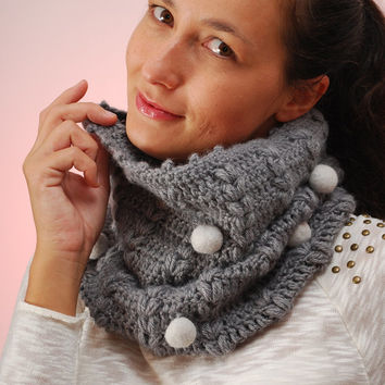 Unusual cowl, Crochet neck, felt balls scarf, winter cowl, fall scarf,  gray scarf, merino wool neck, wool scarf, gray crochet cowl.