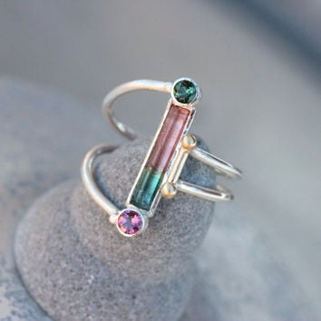 Watermelon Tourmaline Silver Gold Ring Unique Pink Green - Watermelon Ballet