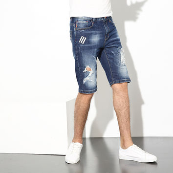 Summer Fashion Men Jeans Shorts Blue Color Destroyed Ripped Jeans Men Shorts Slim Fit Denim Stretch Elastic Paint Youth Shorts