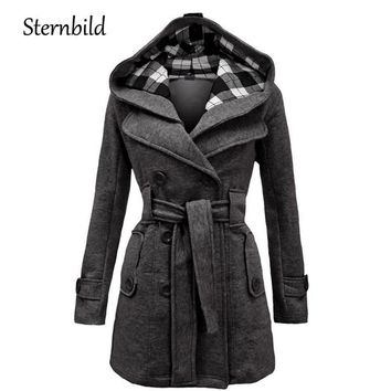 STERNBILD Women Fashion Woolen Coat Winter Casual Hooded Warm Jacket for Women Double Breasted Pea Outwear Solid Hot Sale S-3XL