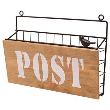 Rustic Brown Metal Wire Wall Mounted quotPostquot Mail Sorter  Magazine Rack w Wood Panel Sign Bird Ornament