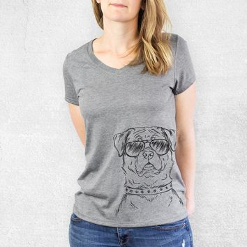 Rocky the Rottweiler - Women's Relaxed Fit V-neck Shirt