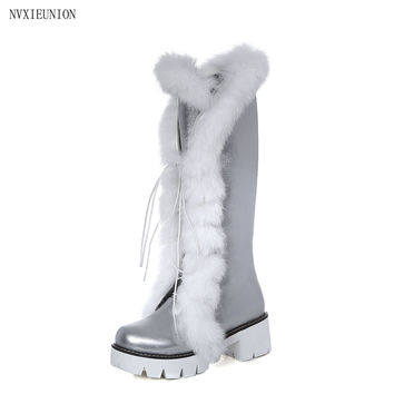 NEMAONE fur Boots Women Shoes 2017 Shoe Round Toe square heel Knee High boots For Women