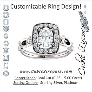 Cubic Zirconia Engagement Ring- The Deb (Customizable Oval Cut Design with Large Halo, Fleur-de-lis Trellis and Bubbled Infinity Band)