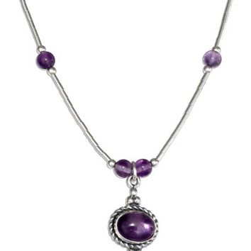 """Sterling Silver 16"""" Liquid Silver Roped Oval Amethyst Necklace"""