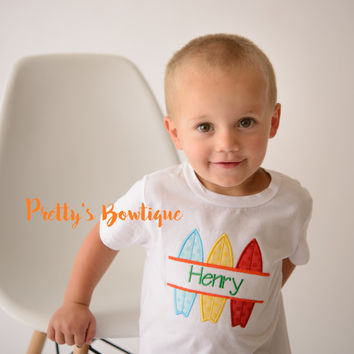Boys Beach Shirt-- Personalized Boys shirt -- Surf Board boys summer applique shirt -- Surfing Shirt -- Summer Shirt -- Boys Bodysuit
