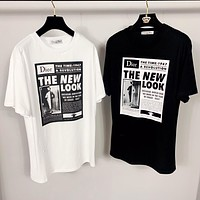 DIOR 2019 new black and white poster printing couple models loose round neck T-shirt top