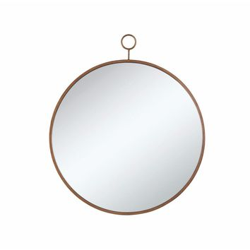 Round Wall Mirror With A Loop Hanger, Gold And Silver-Coaster