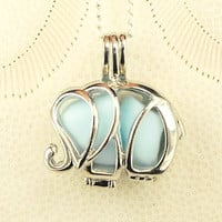 STERLING SILVER Sea Glass Necklace Elephant Locket Blue Milk Glass