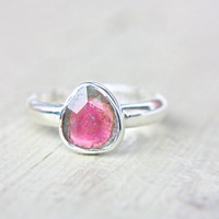 Watermelon Tourmaline Ring Sterling Silver Natural Rose Cut Tourmaline Engagement Gemstone Engagement Ring Size 8-9 Silversmith