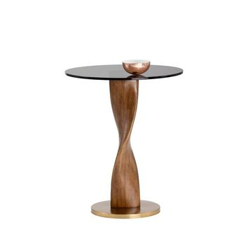 ISHTAR ANTIQUE GOLD BASE WITH ROUND TEMPERED GLASS TOP SIDE TABLE