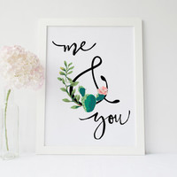Me and You Succulent printable art cactus wall art printable quote ampersand print succulent cactus wall art printable botanical art print