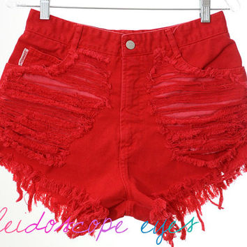 Bongo BRIGHT RED Trashed Denim High Waist Destroyed Cut Off Shorts M