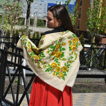 Big shawl Ukrainian shawl Russian shawl Wool floral scarf  White shawl Made in USSR White shawl with flowers Vintage shawl Babushka scarf