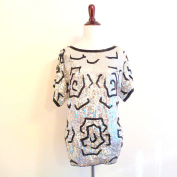 80s vintage sequin blouse floral metallic silver beaded top 80s does 20s floral sequin retro shirt size small