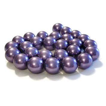 Purple Beads 16mm, 16mm Beads, Chunky Beads, 25 Pearls, Lilac Pearls, Large Pearls, Loose Pearls, Pearl Beads Bulk, Purple Chunky Pearls